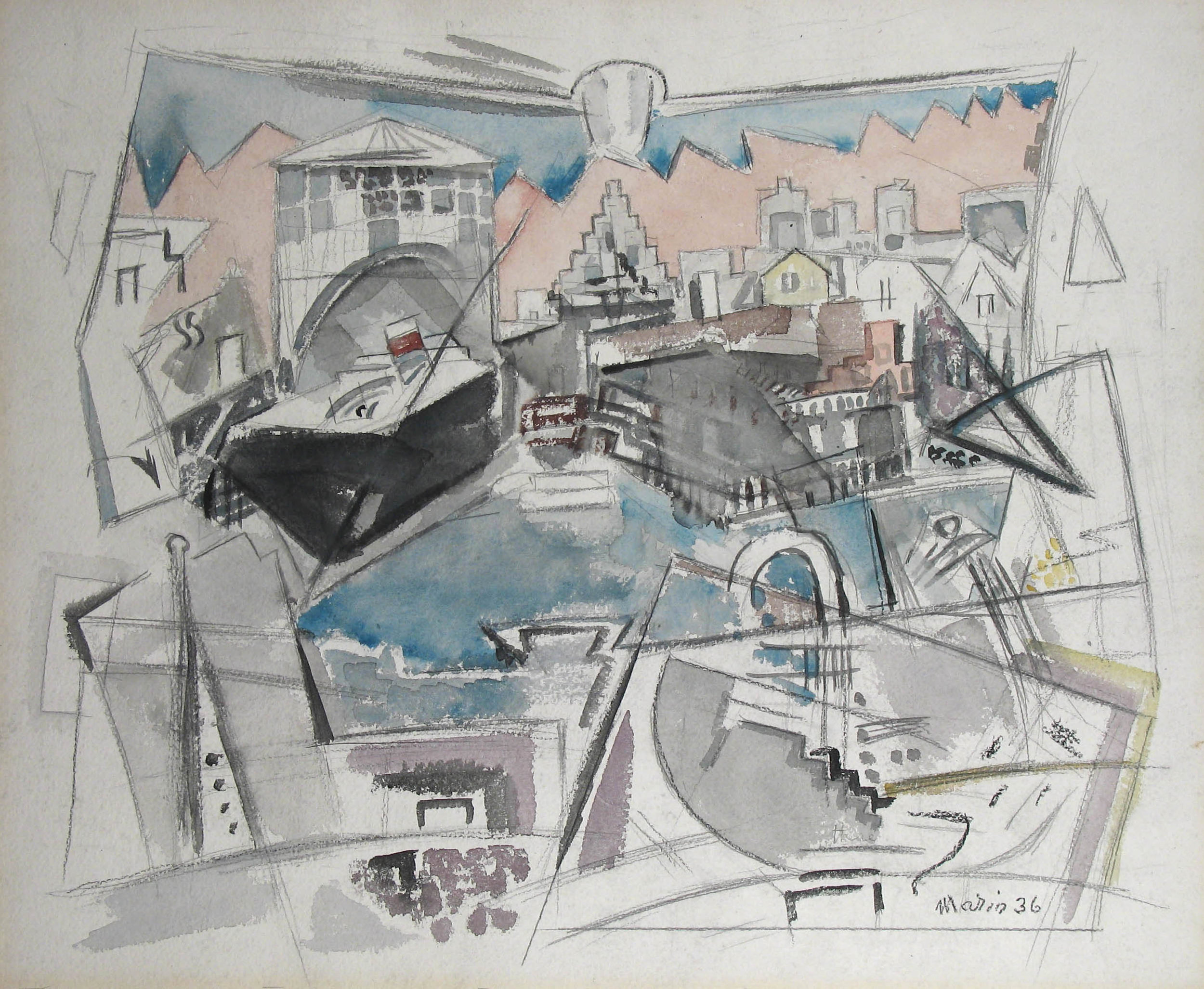 Abstract watercolor in blue, grey, and pink of Manhattan waterfront with buildings and ship