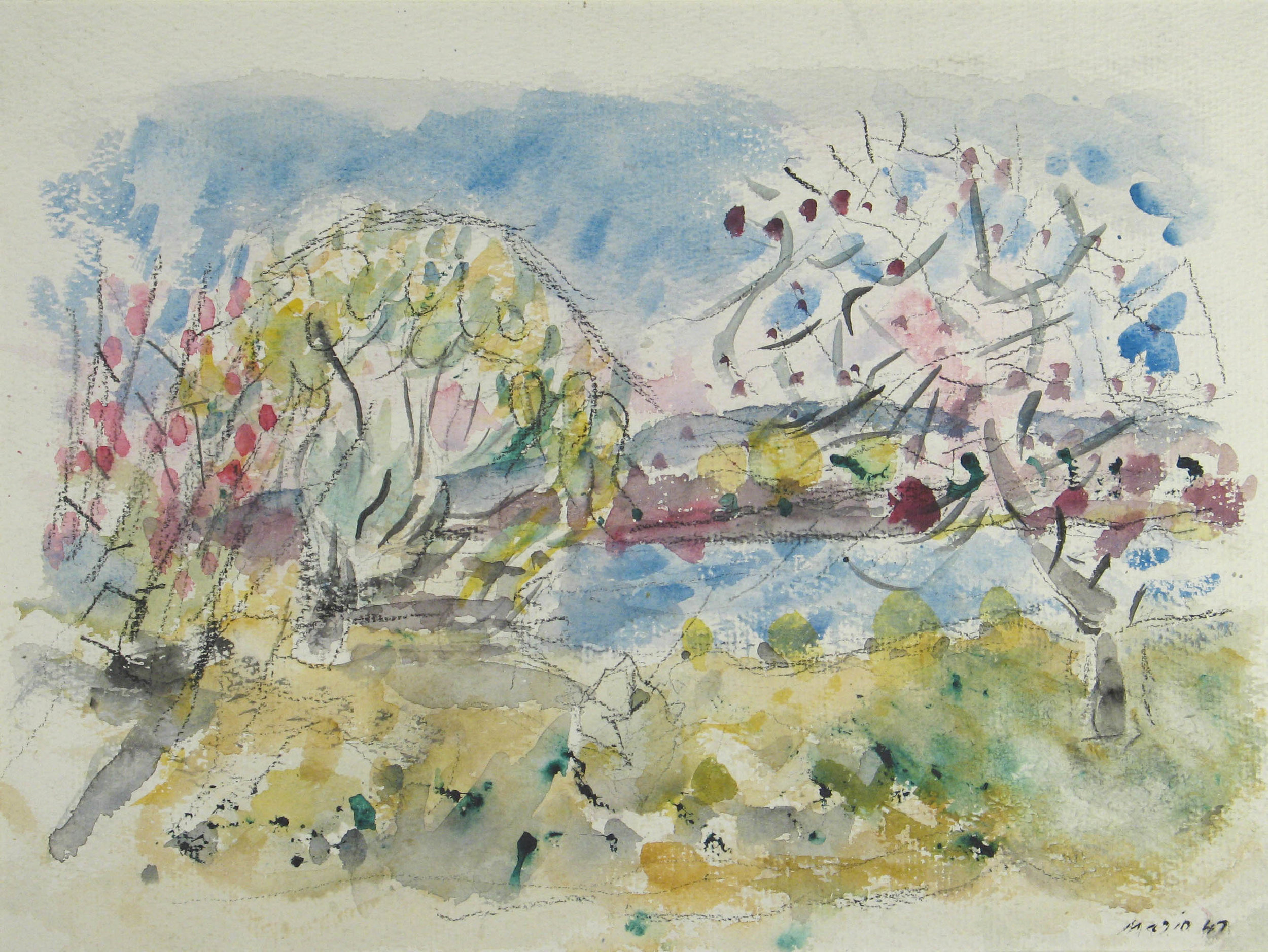 Watercolor of trees with pink blooms by the riverside