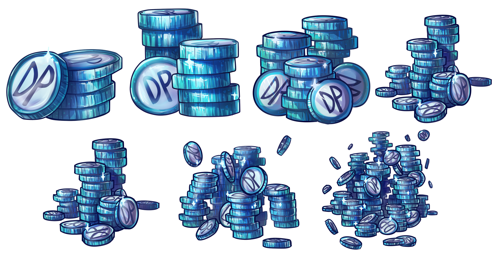 Stacks of in game currency to promote cash shop sales.