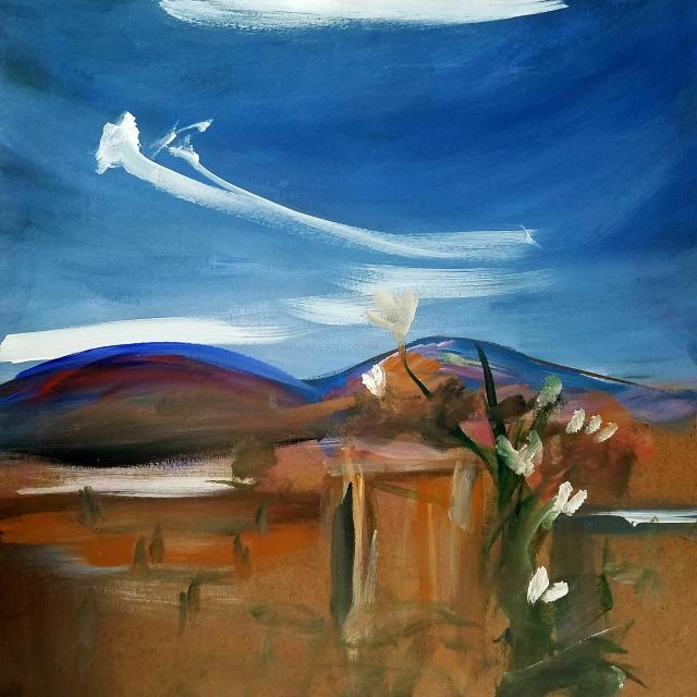 """Big Sky"", 30""x30"", acrylic on board. Painted of Big Sky neighborhood in Simi Valley, California."