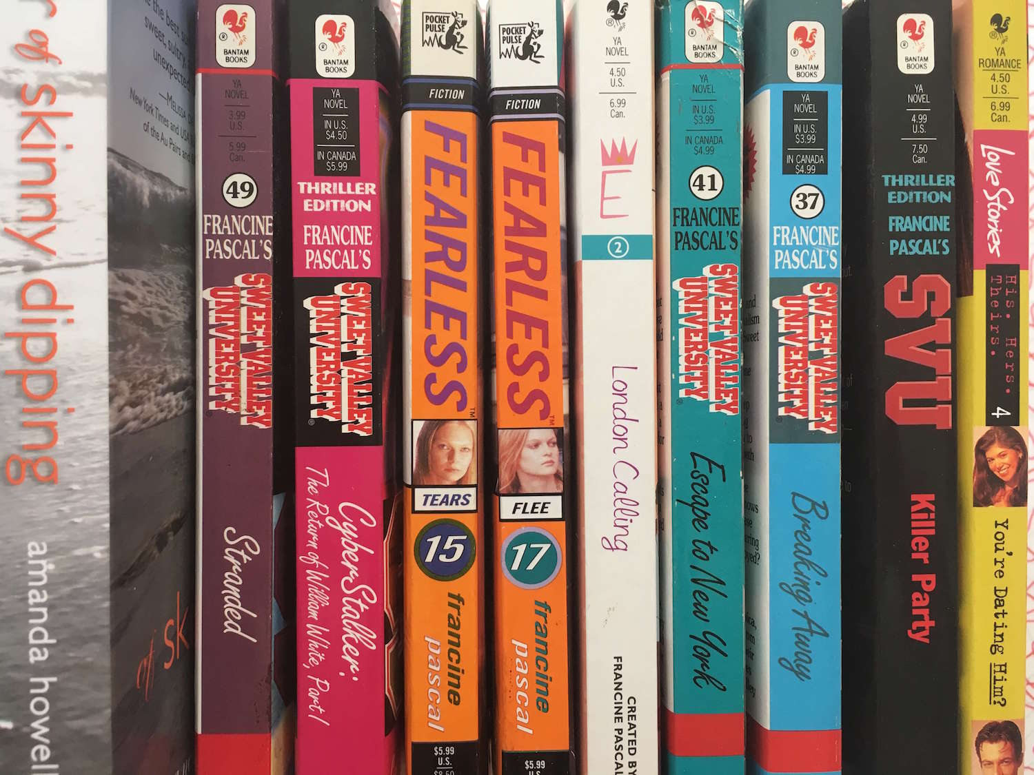 "PULP - I have cranked out more than a dozen books for Francine Pascal and other writers, some of whom must remain top-secret! My favorite Sweet Valley assignment involved Elizabeth Wakefield impersonating a scullery maid in an English castle. I also got a kick out of  the Fearless series, about Gaia, ""the girl born without the fear gene."""