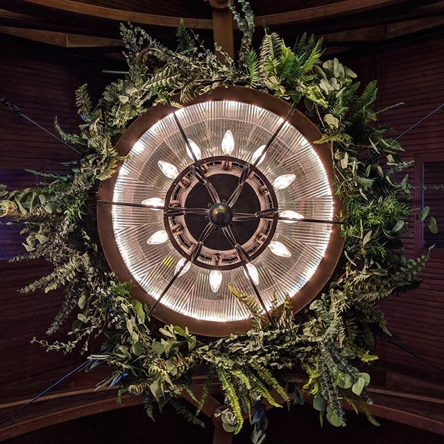 A view up to the chandeliers in our sanctuary bringing the outdoors in for a magical woodland wedding this season.  Also a reminder that we'll be closed tomorrow for a private event and will be back open for service Sunday AM.