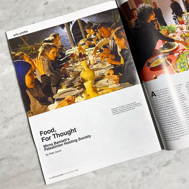 """Our Chef Rachel spoke to @chronogram magazine about our upcoming collaboration with the @palestine_hosting_society and @fishercenterbard - an already sold out three night dinner performance series by artist and cook Mirna Bamieh """"Menu of Dis/appearance."""" Read more in this month's issue!"""