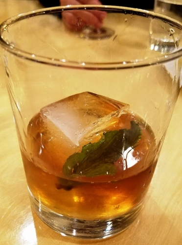 """Barrel-aged, Old Fashioned Cocktail called the """"Barrel No. 4 - The Lion"""" which has Clyde Mary's Whiskey, Laird's Apple Brandy, Fruitlab Ginger Liquer"""