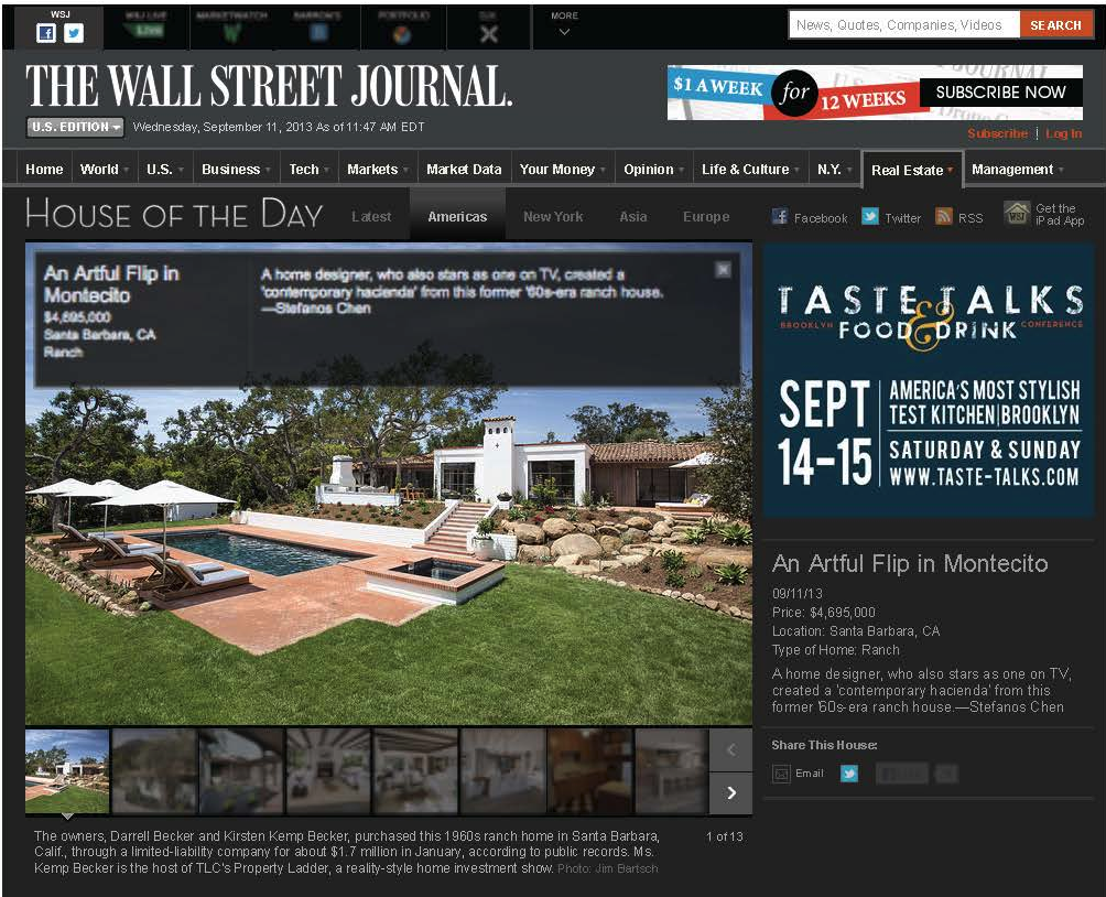To Read the Full Article Visit:  https://www.wsj.com/articles/an-artful-flip-in-montecito-1378914479