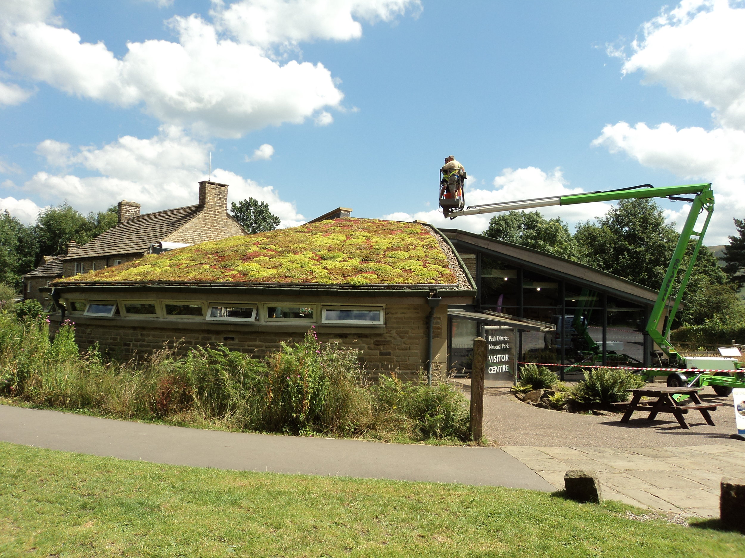 Maintenance of the green roof on Edale Visitor Cente