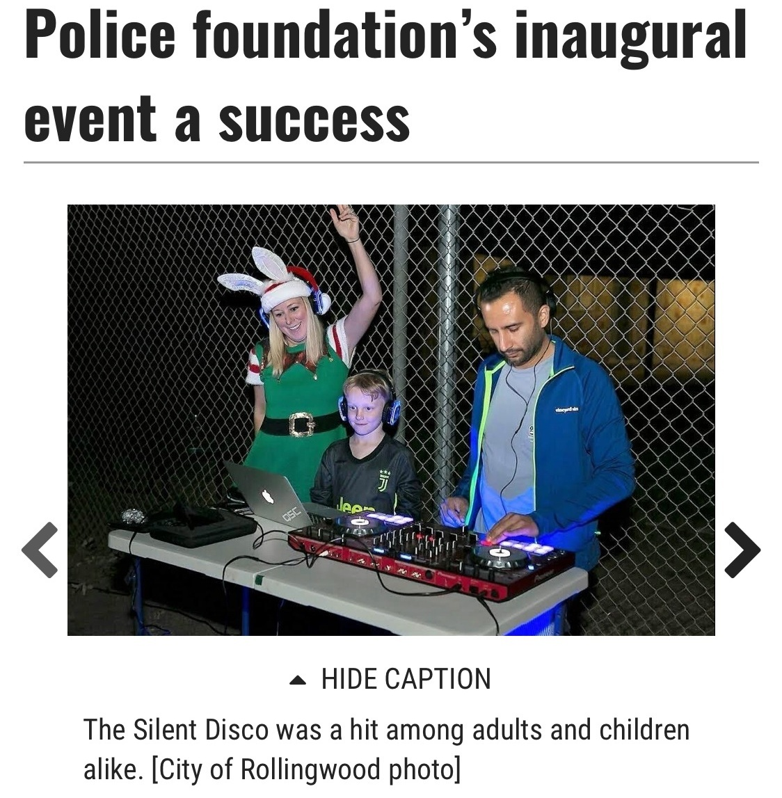 Austin Statesman Feature Dec 2018 - Jason Stella DJing Silent Disco for the City of Rollingwood Police Inaugural Fundraiser.