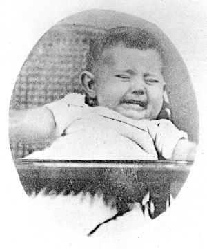A photograph of a crying baby from Darwin's  On the Expression of the Emotions in Man and Animals.  Via Wellcome Images.