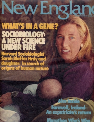Hrdy with daughter on the cover of the  Boston Globe 's Sunday magazine.
