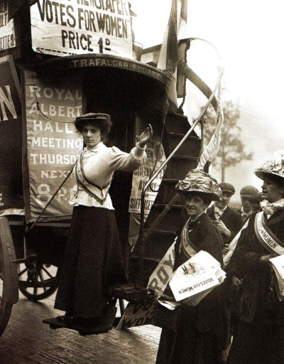 Hertha's daughter Barbara (left), taking up her mother's suffragist mantle.
