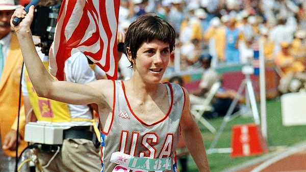 Joan Benoit, after her 1984 Gold medal victory in Los Angeles.