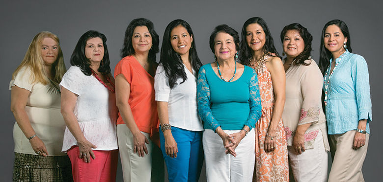 Huerta with her daughters, early 2010s.