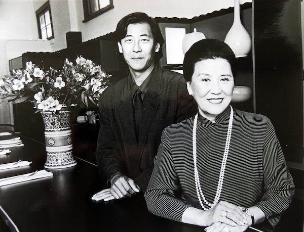 Chiang with her son Philip. He would go on to create the restaurant chain P.F. Chang's (the antithesis of his mother's restaurant, IMO).