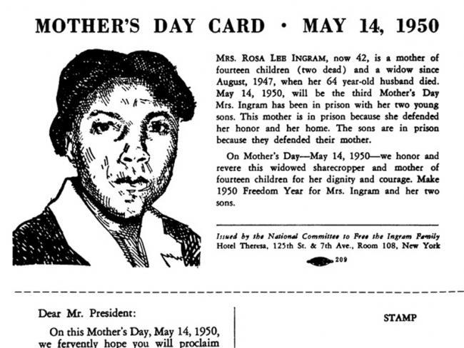 Mother's Day Card to free the Ingram Family. Via Wikimedia.