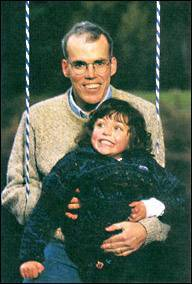 McKibben with his daughter in the late 1990s.
