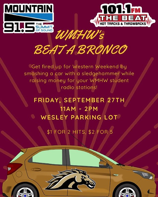 TOMORROW!!!! Come hang out with us and show your Chip spirit by smashing a car with Westerns color on it. #beatwestern #fireupchips