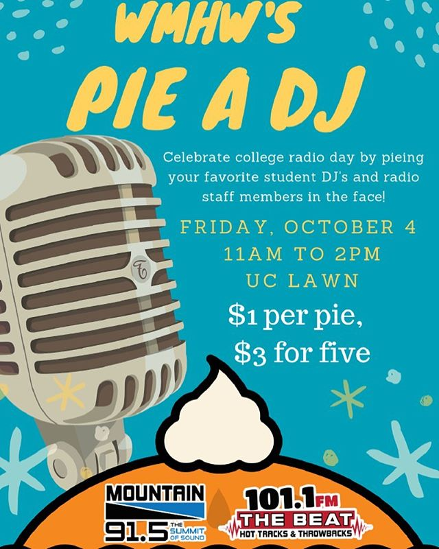 College Radio Day is in 2 DAYS!! Come celebrate with us by pieing us in the face!