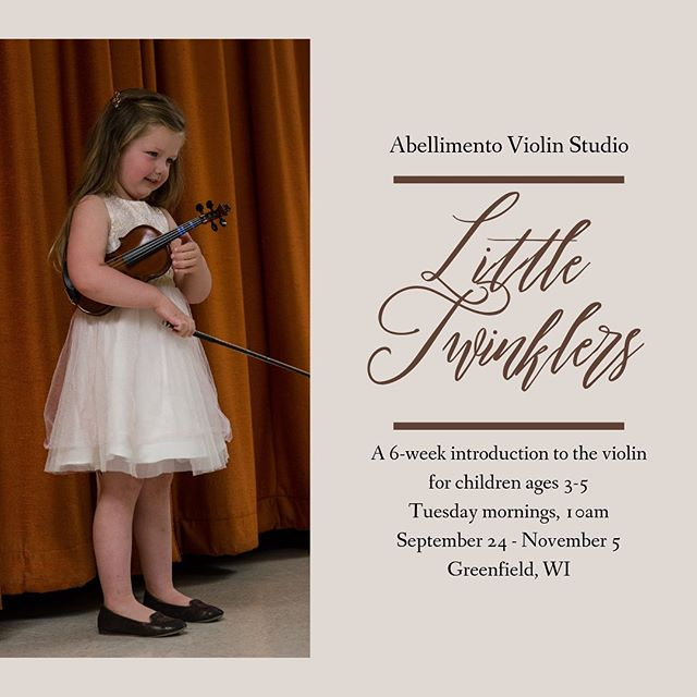 "My intro to the violin class is back this fall! ""Little Twinklers"" is a 6-week experience designed for parent and child to learn what the violin is all about. Classes will be Tuesday mornings at 10 am in Greenfield. More information can be found at the link in my profile! • • • #milwaukeeviolinlessons #musiceducation #suzukiviolin"