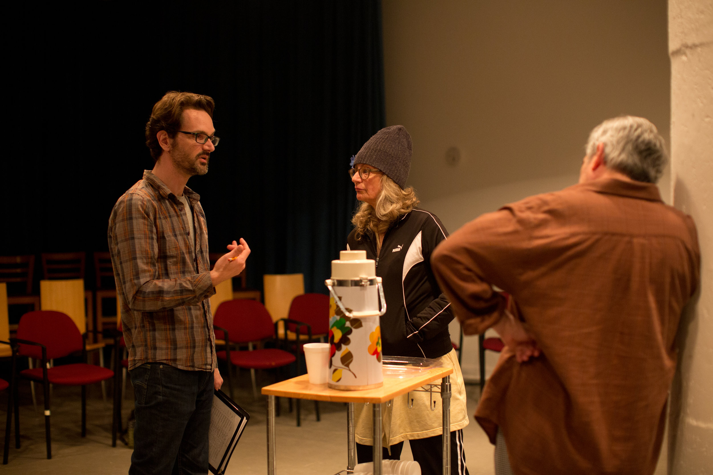 Director Benjamin McGovern+ and actors Sally Wingert* and Robert Dorfman* rehearse the United States premiere of  And So It Goes  by George F. Walker | Photo: Melissa Hesse