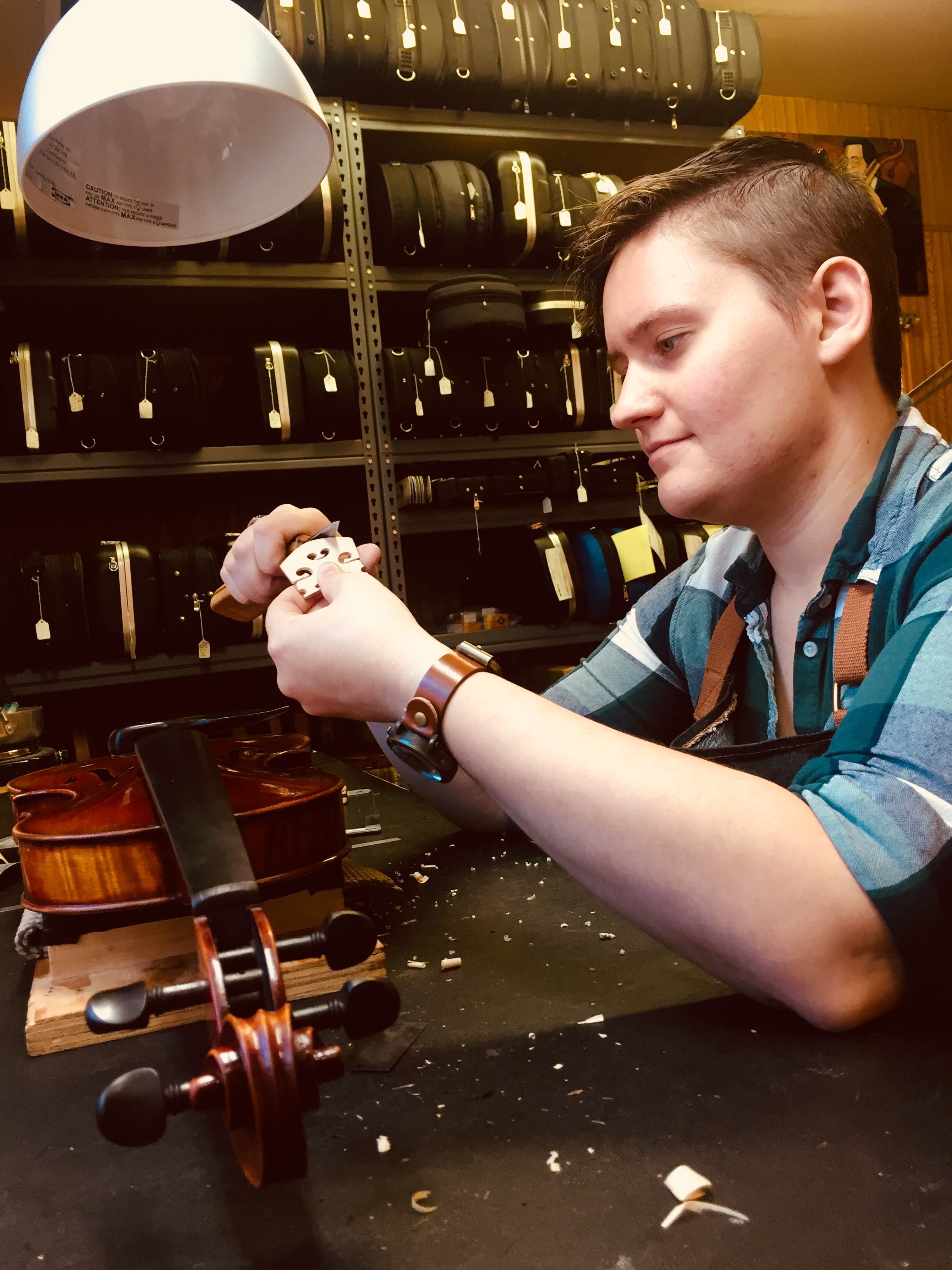 Cat Autrey - Certified Luthier - Cat is a graduate of Red Wing Violin Repair School, class of 2016 that studied under Lisbeth Nelson Butler in Red Wing, Minnesota.She is a Tulsa native and Union High School graduate.Since beginning at Tulsa Strings in 2016 Cat has provided her expertise with instrument and bow repair,setups,and instrument making. Cat has a passion for the history and art of luthiery. Attention to detail and meticulous accuracy make her an invaluable part of the Tulsa Strings workshop. Cat also plays with the local community orchestra on violin at TCC.