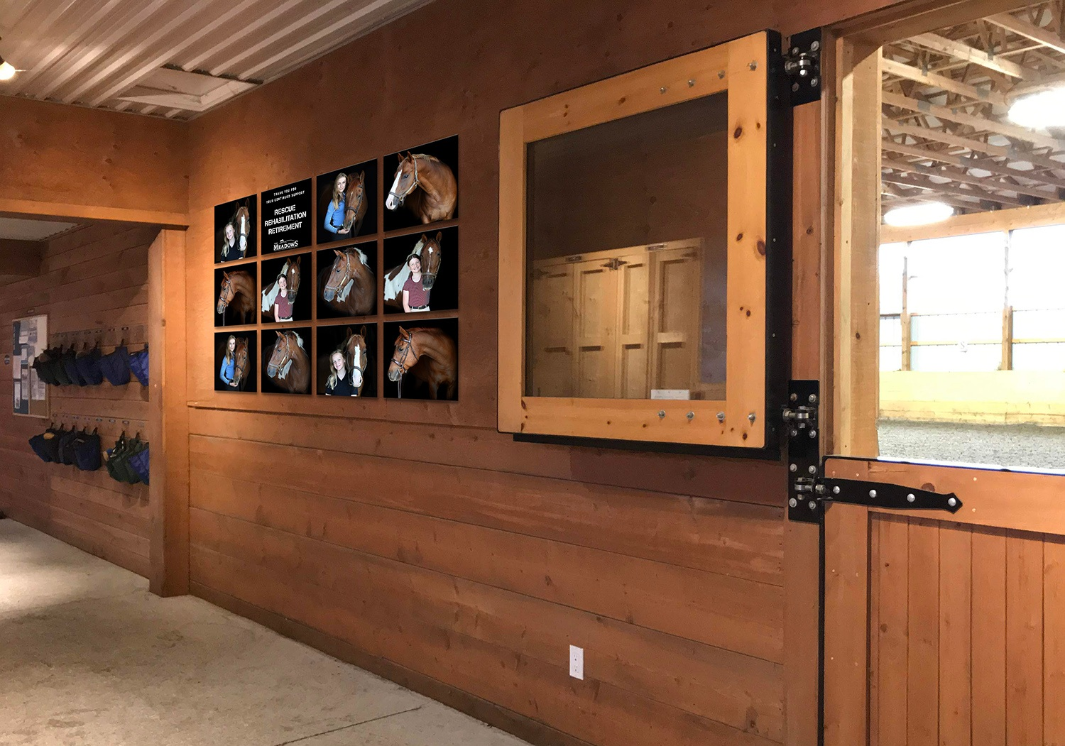 Newly-built Barn - Our dust-free barn is designed with extra ceiling height, wide aisles, and windows throughout to provide lots of natural light.All stalls and water buckets are sanitized daily to ensure a healthy, infection free facility.