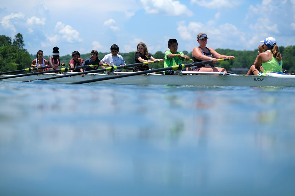 A new experience this year for a group of campers was Open Waters camp, where rowing was introduced.