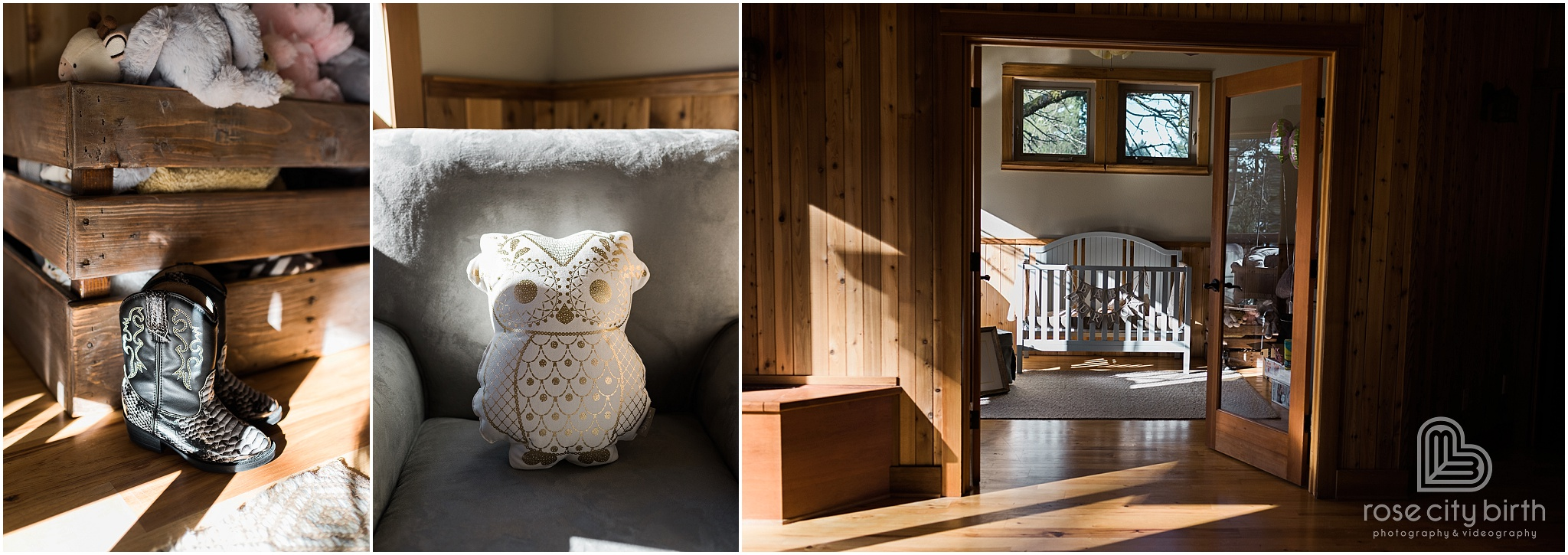 Owl, boots and view of nursery for maternity photos in Camas Washington and Portland Oregon.