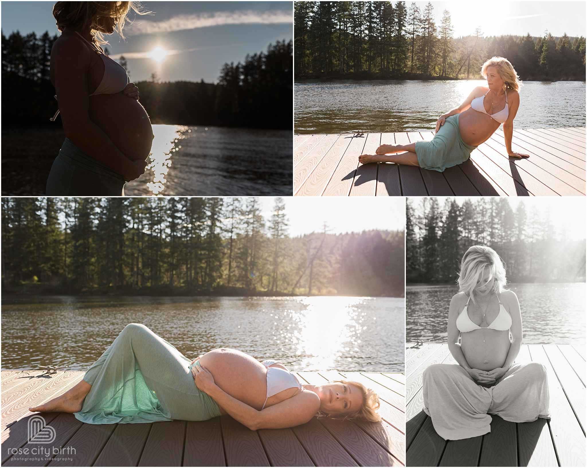 Pregnant woman posing in front of a bright sun and by the lake on a dock for her maternity photos in Camas Washington.