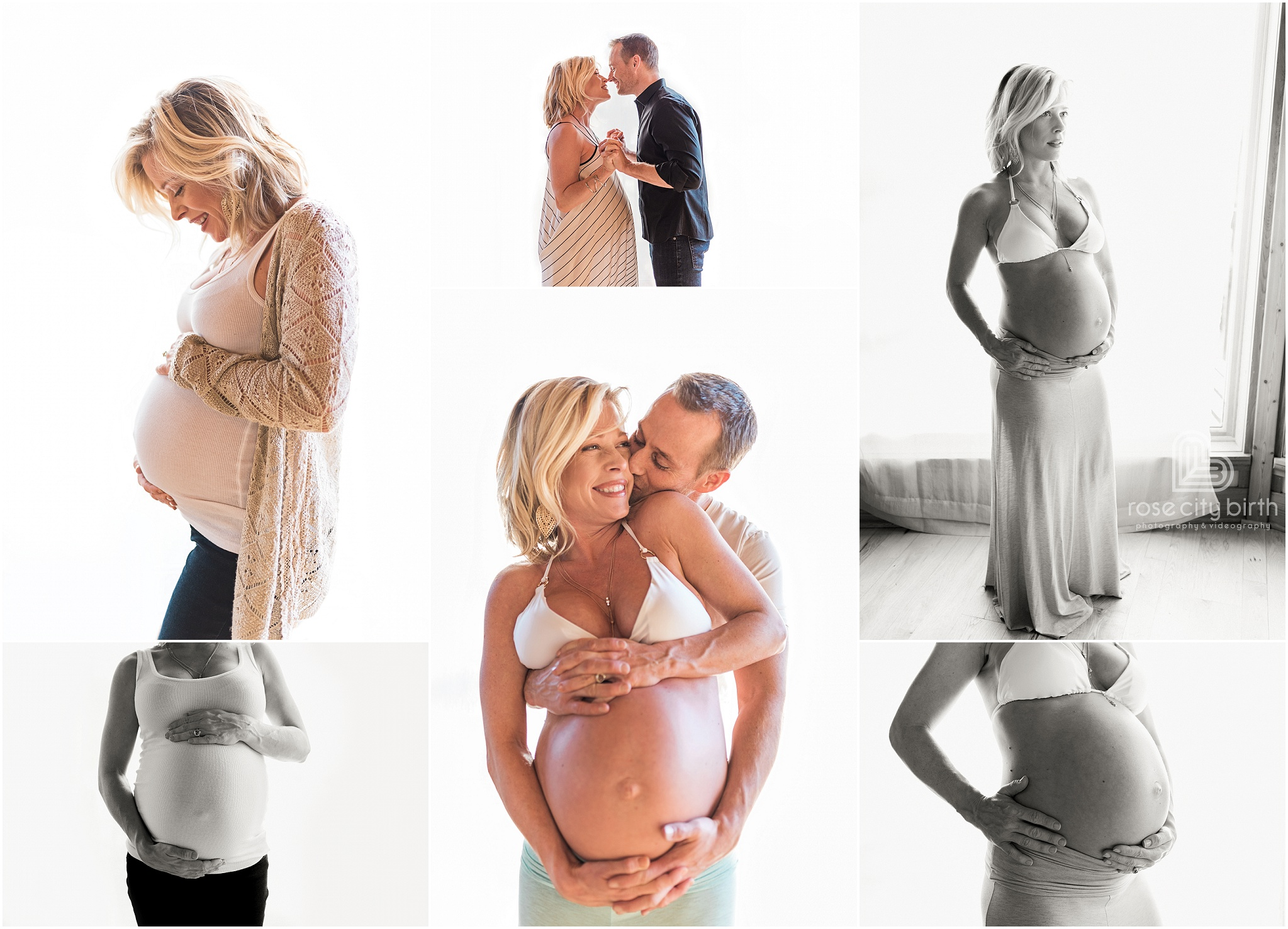 Couple posing in front of a curtain for maternity photos in Camas Washington and Portland Oregon.