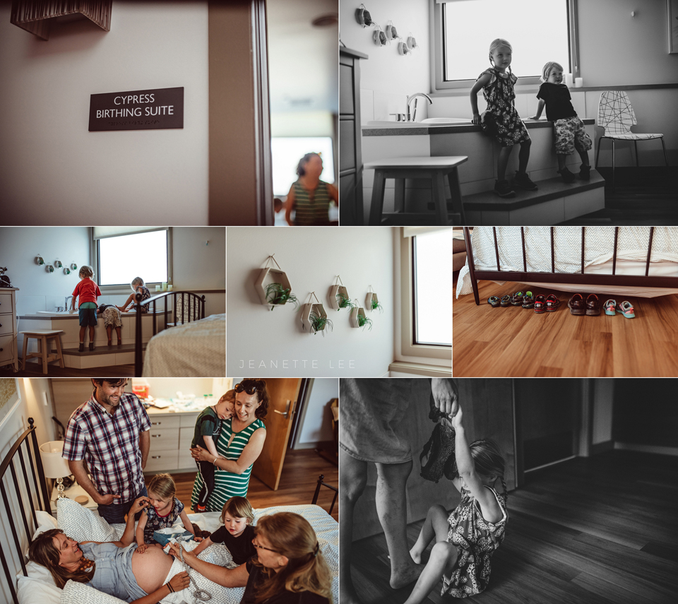 Portland Birth Center birth with midwife and older children in attendance