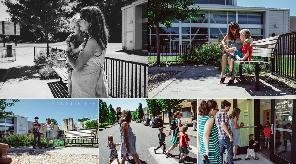Family goes for walk during labor of Portland Oregon birth center birth Womens Healthcare Associates