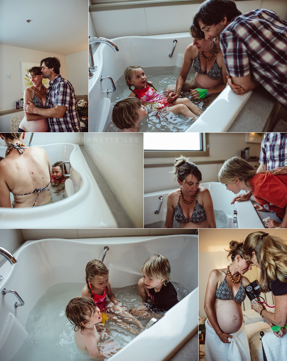 Mom labors in tub with children at Portland Oregon birth center