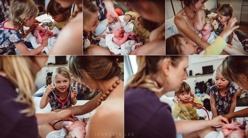 brand new newborn baby after birthing at portland oregon birth center