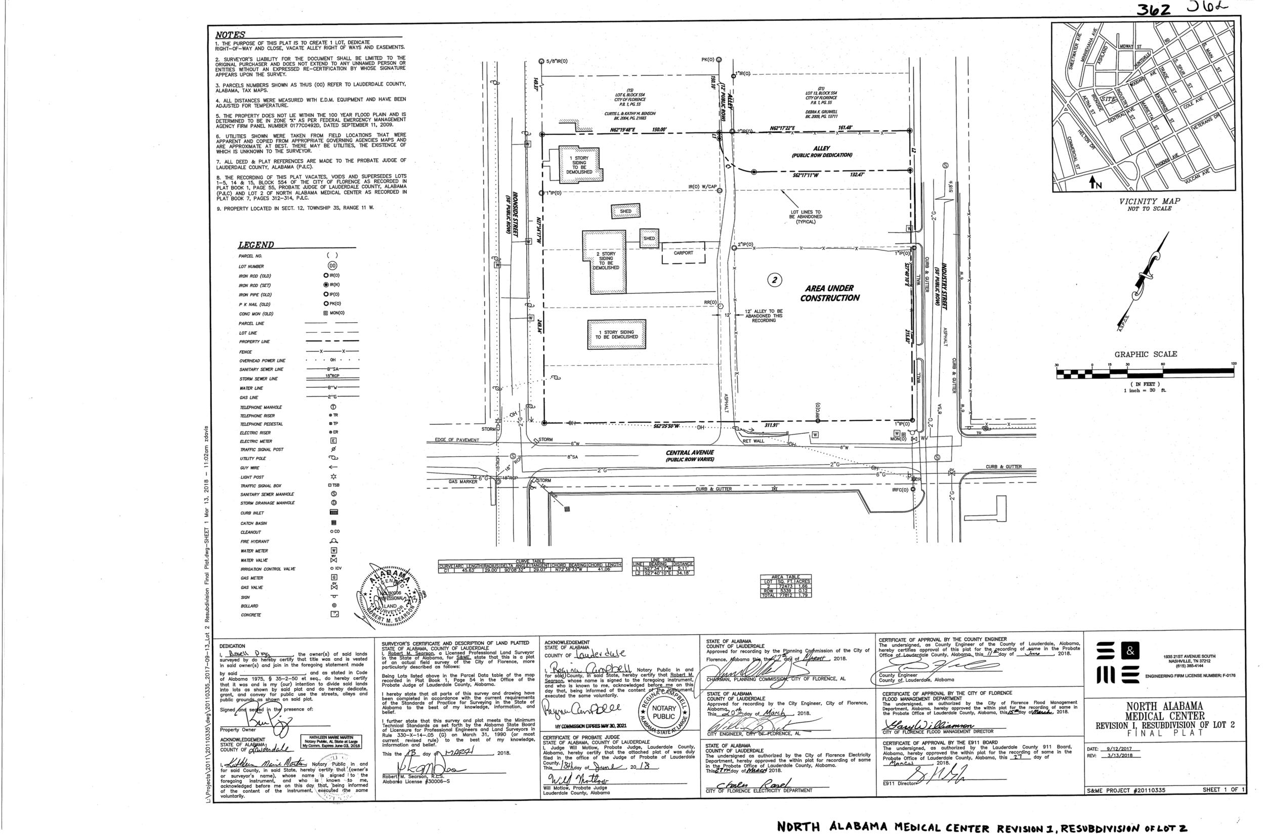 Plat-North Alabama Medical Center Revision 1, Resubdivision of Lot 2-1.png