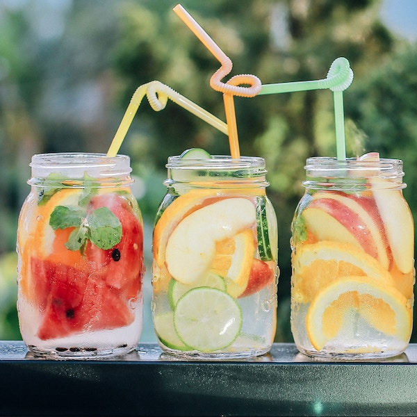 5.Fruit/Herb Infused Waters - With senses enhanced, why not play up the visuals? Peel rhines to prevent a sour taste. Favorite Combos: Pineapple + Mint, Orange + Basil, Blackberry + Sage Lemon + Lime + Orange. Watermelon + Mint / Rosemerry