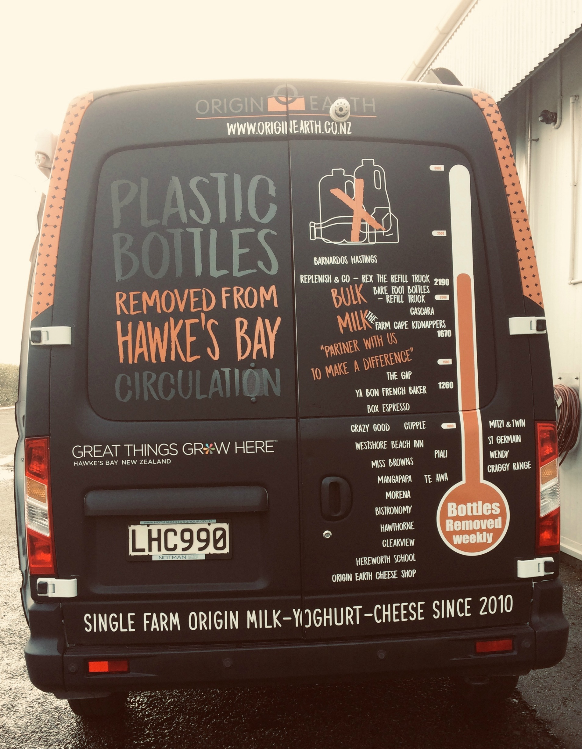 Our multi-purpose van - look for it delivering milk to    Our Waste Reduction Partners    and for use at venues such as the    Hawke's Bay Farmers' Markets   .