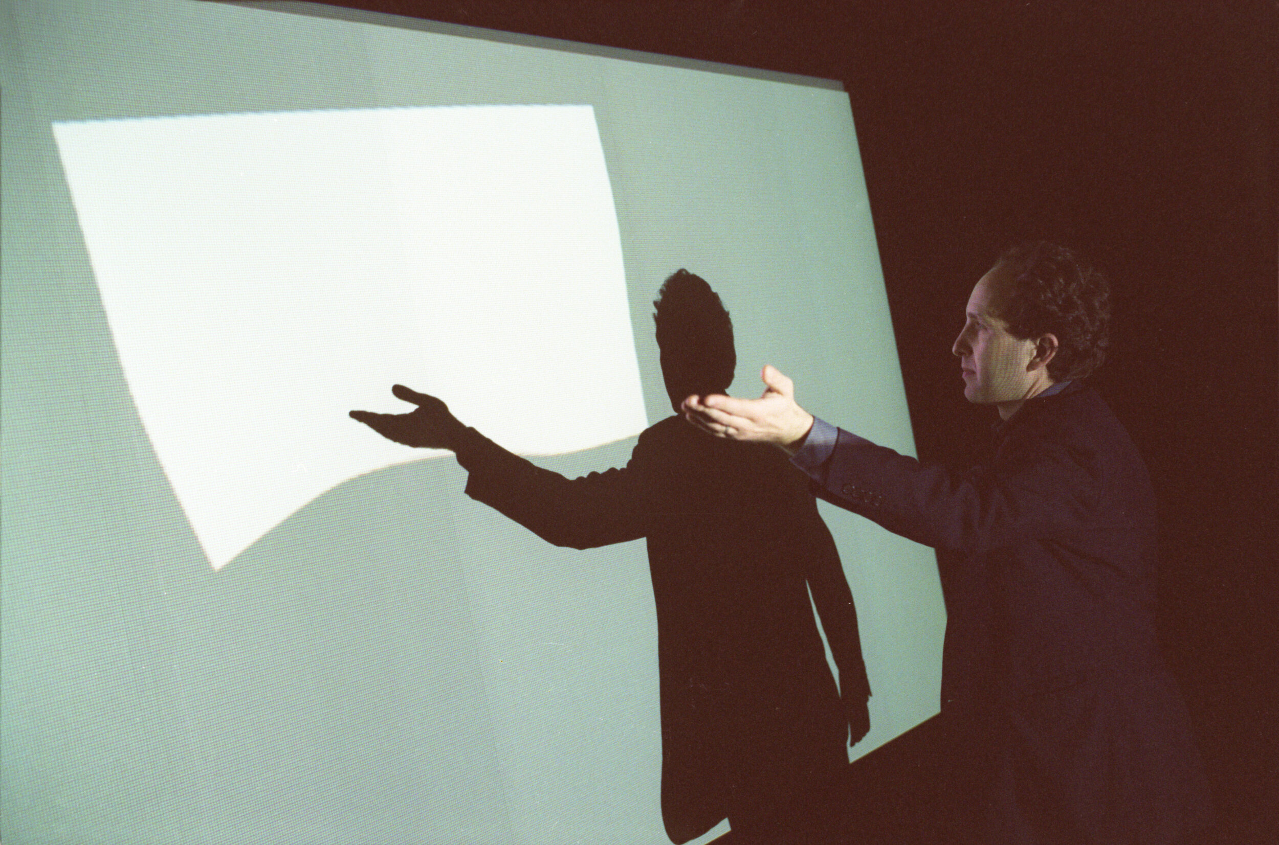 "With digital artwork ""Compliant"", Art Interactive Gallery, Cambridge, Massachusetts, 2005. Photo by Kris Snibbe."