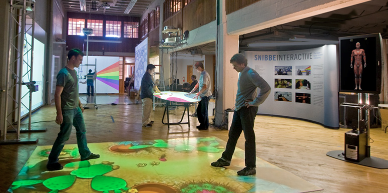 Snibbe Interactive office in SOMA, San Francisco featuring interactive augmented reality exhibits for science museums.