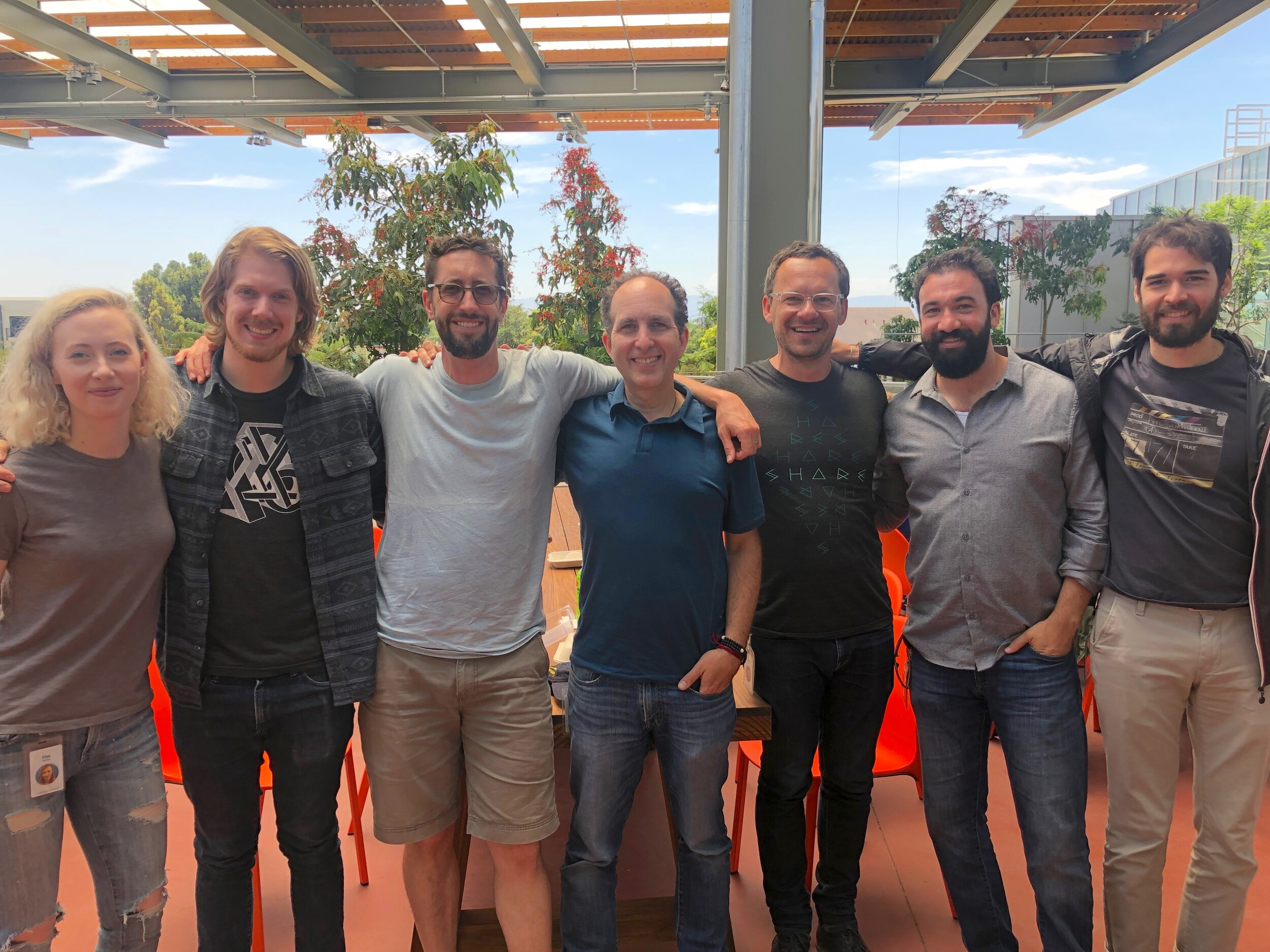 Former Eyegroove team members Elise Ramsay, Matt Roberts, Graham McDermott, Scott Snibbe, Andre Seibel, Michael Feldstein, Johan Ismael at Facebook, August 2018.