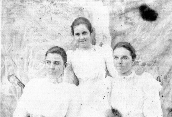 [Pictured left and center are Zola and Cora, two of the daughters born in this home and their good friend, Edna c. 1899- Photo Courtesy of the  State Archive of Florida ]