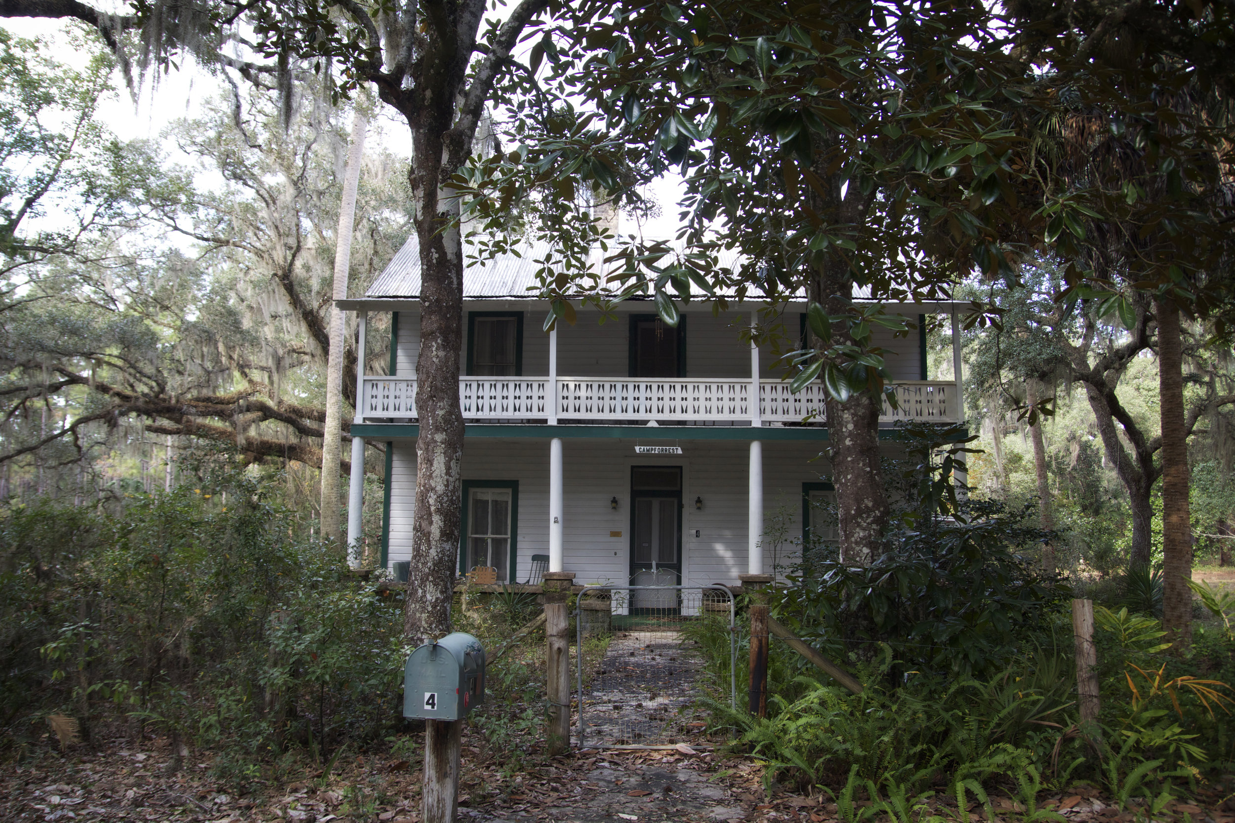 Boarding House - Built in 1885, this building sits just along the old stagecoach road and was the stopping point for weary passengers and their horses along the way. Marjorie Kinnan Rawlings used to stroll along this very path where I stood on her retreats to Kerr City. This home became Fletchers' (Lillian and George's son) home when he was the caretaker