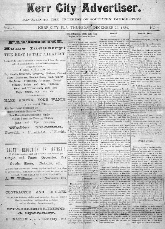 Kerr City Advertiser - Kerr City Newspaper dated December 24, 1884. Photo Courtesy and Property of the Florida Memory Project.