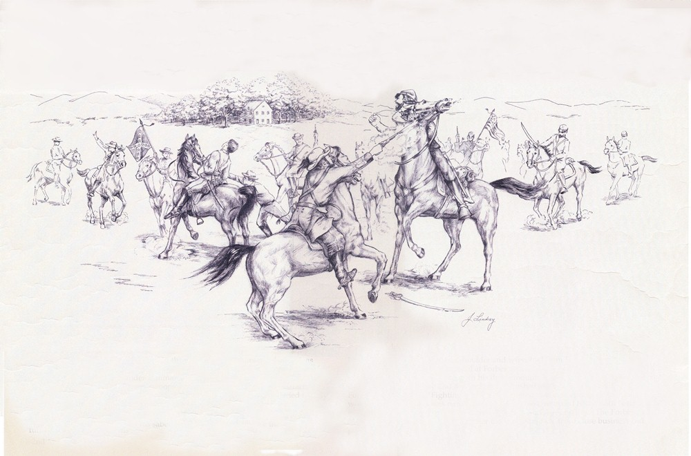 Mt. Zion (in background) sees battle on July 6, 1864- Drawing Courtesy of VisitLoudon