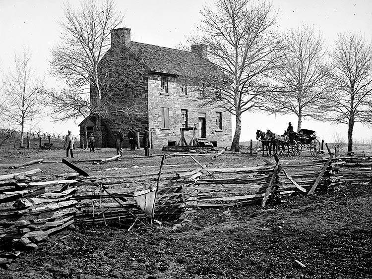 The Old Stone House in 1864 just after the 2nd Battle of Manassas-  Courtesy of the National Park Service