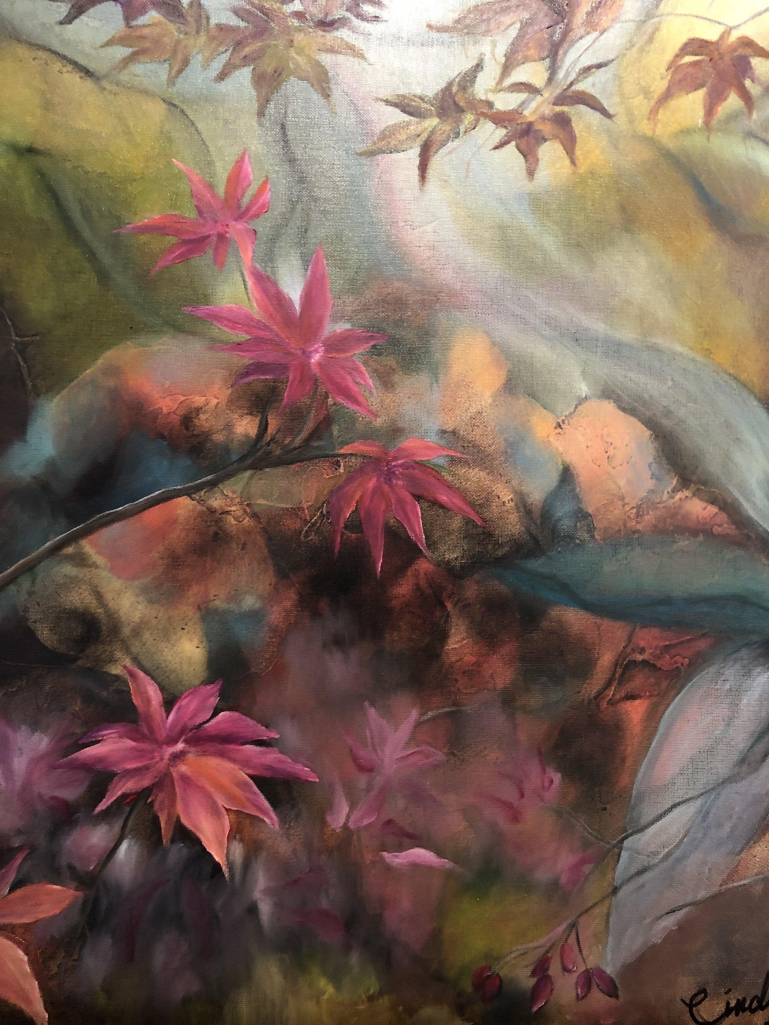 庄海英  通过对这些凋谢树叶的描绘,用模糊幻想型的笔触颜色,给这些自然的魅力加上了更多想象力。这正是庄海英女士绘画的魔力所在。