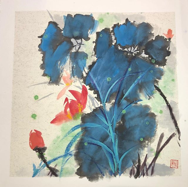 """""""Water Lily"""" by Lynn Li, 15 inches by 15 inches, Chinese colors and ink on Xuan paper."""
