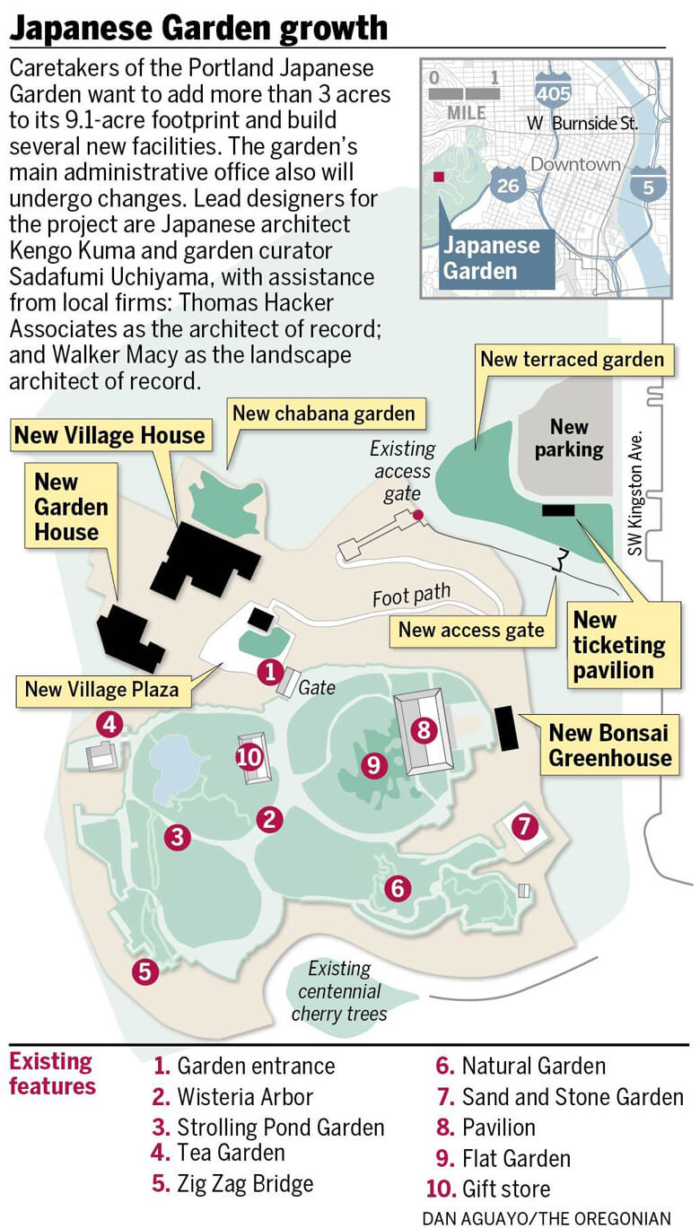 This map shows the expansion that has taken place at Portland's Japanese Garden. Image Courtesy: Dan Aguayo/The Oregonian.