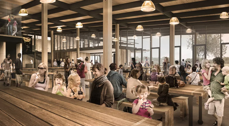 A rendered look at the new dining hall at the new Tillamook Cheese Visitor Center. Great food and plenty of tables! Image Courtesy: Olsen-Kundig
