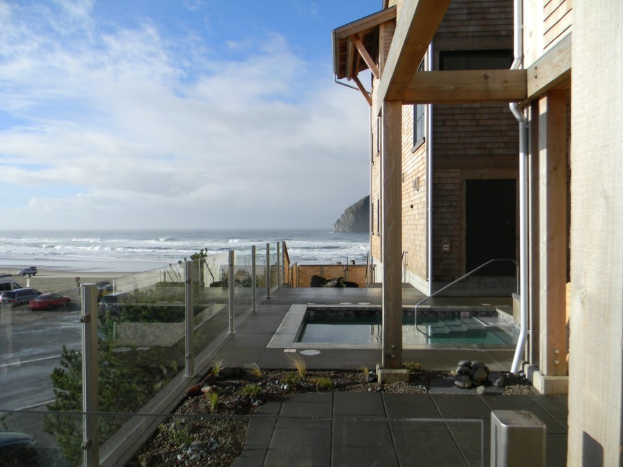 The view from the hot tub at The Headlands. Go for a surf and then warm back up here! Image Courtesy: The Headlands Coastal Lodge and Spa