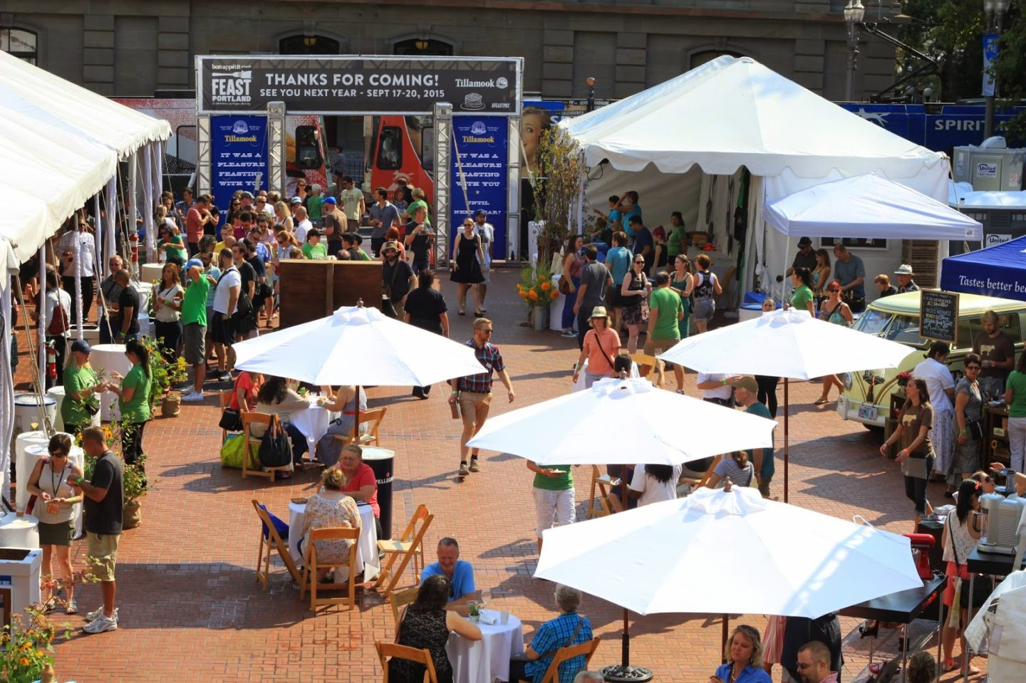 A look at a past Brunch Village event at Portland's Pioneer Courthouse Square. A 21-and-over event, walk around and taste amazing brunch-inspired food, spirits and sweets this upcoming Sunday! Image Courtesy: Jane Graybeal